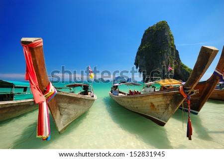 View of Thailand beach and Longtail Boat, Andaman Sea, Krabi