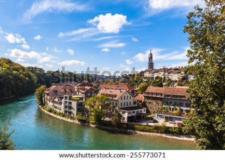 View of the Aare river flowing through the Berne old town, Switzerland - stock photo