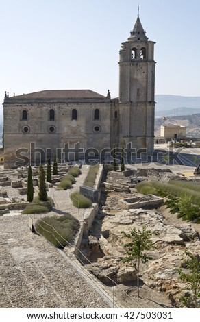 View of the Abbey from the walls of the Alcazar in the Fortaleza de La Mota, Spain - stock photo