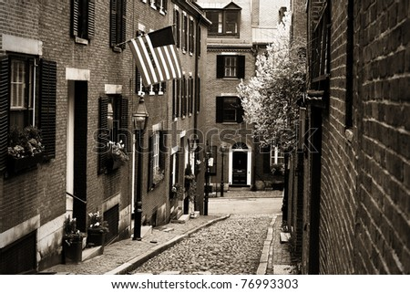 View of the Acorn Street in Boston, Massachusetts - USA. This is a Landmark and Sightseeing of Boston. - stock photo