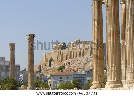 view of the Acropolis from the temple of Zeus in Athens