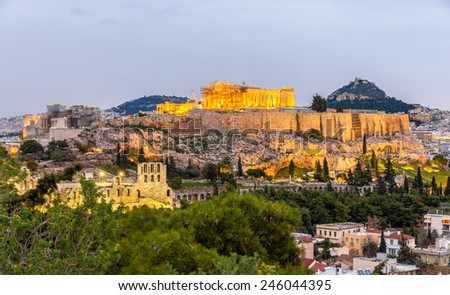 View of the Acropolis of Athens - Greece - stock photo