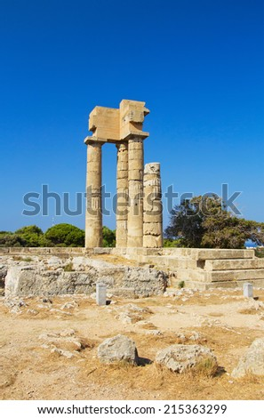View of The Acropolis of Rhodes  - stock photo