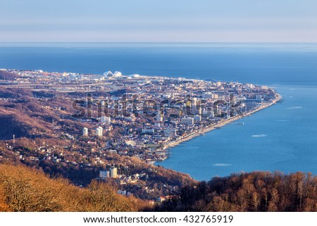 View of the Adler district of Sochi from the observation tower of Akhun mountain. Russia - stock photo