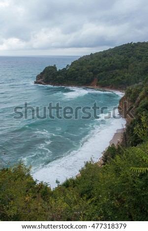 View of the Adriatic sea and coast range near Budva, Montenegro. Balkans, Europe.