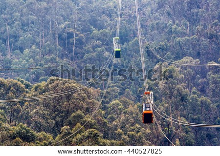 View of the aerial tramway that goes up Monserrate Mountain in Bogota, Colombia - stock photo