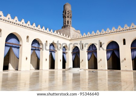 View of the al-Hakim Mosque. It is a major Islamic religious site in Cairo, Egypt. - stock photo
