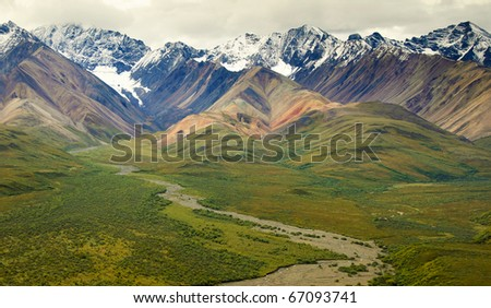 View of the Alaska Range from Polychrome Pass in Denali National Park - stock photo