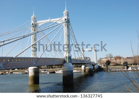 View of the Albert bridge, London, England. - stock photo