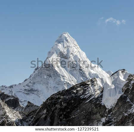 View of the Ama Dablam (6814 m) from Kala Patthar slope - Everest region, Nepal, Himalayas - stock photo