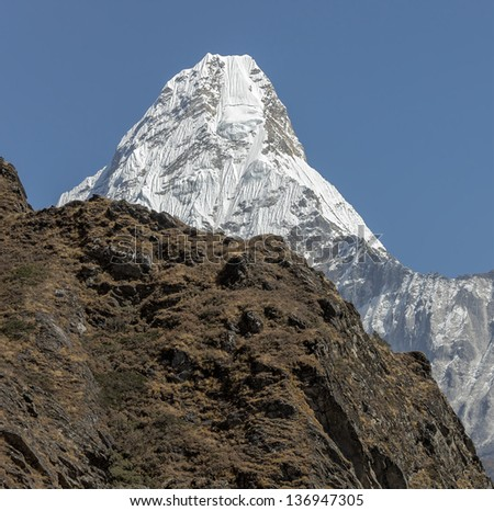 View of the Ama Dablam (6814 m) from South - Everest region, Nepal, Himalayas