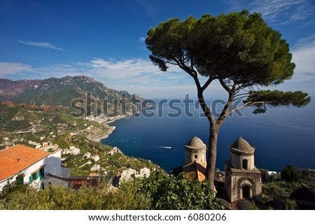 View of the Amalfi Coast in Italy from the beautiful Rufolo Gardens of Ravello