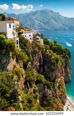 View of the Amalfi Coast of Tyrrhenian Sea (Campania, Italy). Photo taken in June 2012. - stock photo