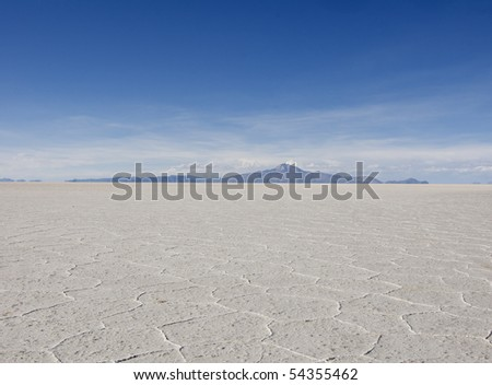 View of the amazing Salar de Uyuni Salt Flats in Bolivia.