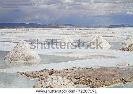 View of the amazing Salar de Uyuni Salt Flats in Bolivia. - stock photo