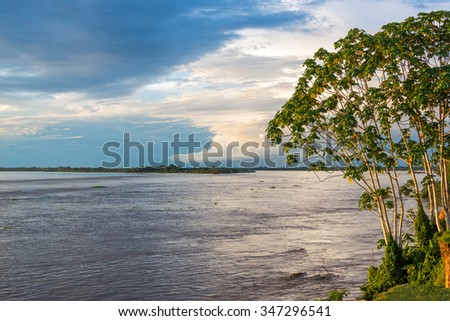 View of the Amazon River near Tabatinga, Brazil - stock photo