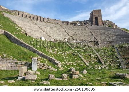 view of the ancient amphitheater in Bergamo acropolis  - stock photo