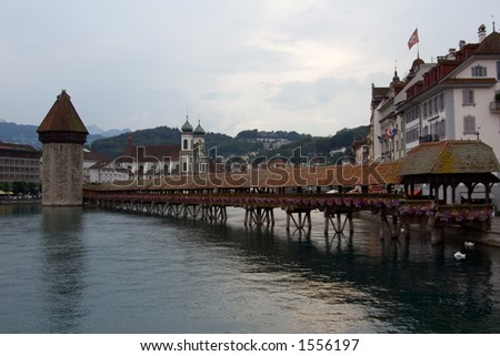 View of the ancient city and the Water-Tower of Luzern (Lucerne) Switzerland