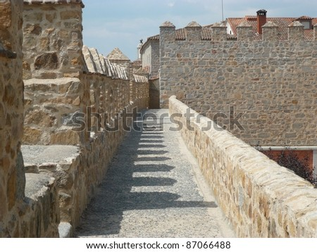 view of the ancient exterior wall of the town of avila in spain