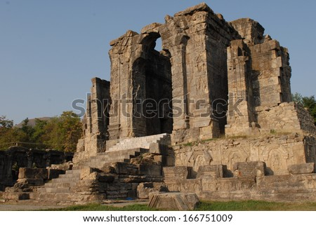 View of the ancient Hindu Sun Temple at Martand - stock photo