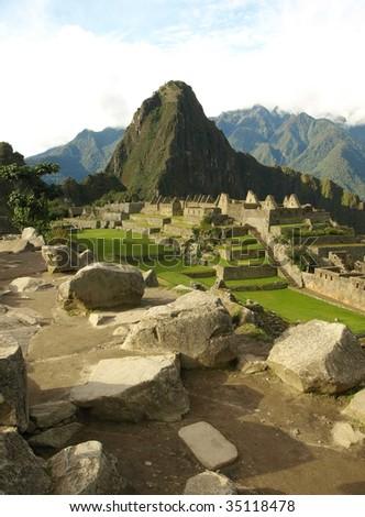 View of the ancient Inca city of Machu Picchu, Peru, South America. - stock photo