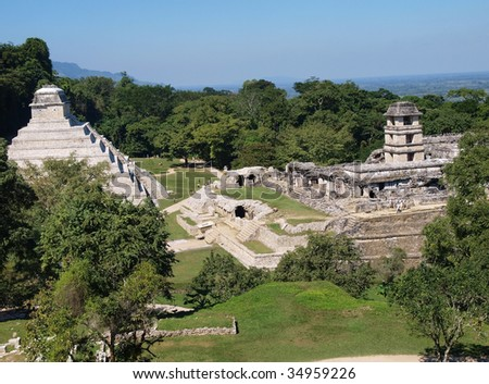 View of the ancient Mayan ruins of Palenque, Chiapas state, Mexico. - stock photo