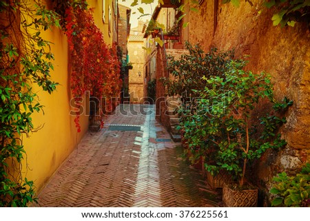 View of the ancient old european city. Street of Pienza, Italy. - stock photo