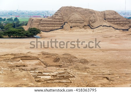 View of the ancient pyramid known as the Huaca del Sol in Trujillo, Peru - stock photo