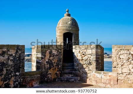 View of the ancient Skala of Essaouira: old portuguese city in Morocco - stock photo
