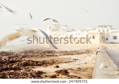 View of the ancient walls of Essaouira, Morocco - stock photo