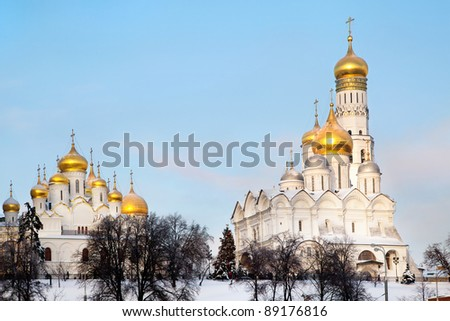 View of The Annunciation cathedral and the Assumption cathedral in Moscow Kremlin, Russia - stock photo