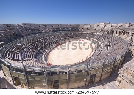 """View of the antique theatre and arena of """"Nimes"""", Nimes, France - stock photo"""