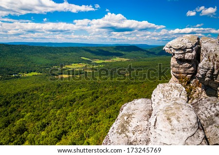 View of the Appalachian Mountains from cliffs on Big Schloss, in George Washington National Forest, Virginia. - stock photo