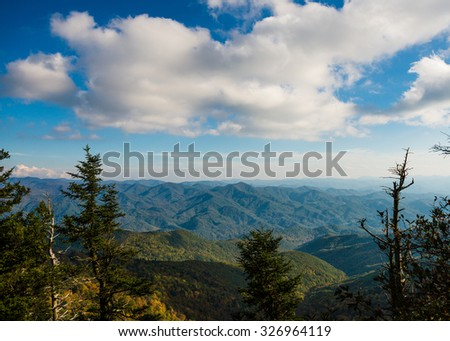 View of the Appalachian Mountains in North Carolina off the Blue Ridge Parkway - stock photo