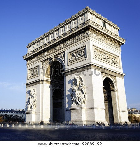view of the Arc de Triomphe, Paris, France - stock photo