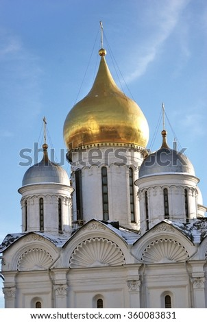 View of the Archangels church in Moscow Kremlin, a popular touristic landmark. UNESCO World Heritage Site.  - stock photo