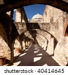 View of the arches leading to the San Juan Mission in San Antonio - stock photo