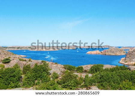 View of the archipelago on the Swedish west coast - stock photo