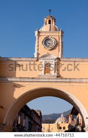 View of the Arco de Santa Catalina in Antigua, Guatemala, Central America. - stock photo