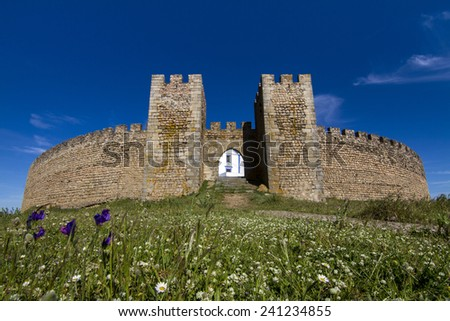 View of the Arraiolos village church on Portugal. - stock photo