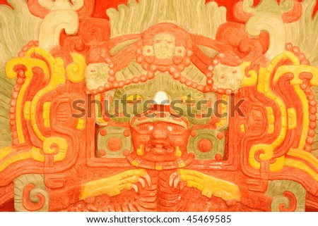 View of the artwork on the replica of the Rosalila Temple at the ancient Mayan ruins of Copan, Honduras, Central America. - stock photo