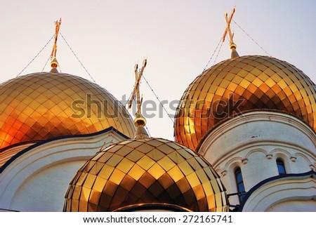 View of the Assumption Church in Yaroslavl, Russia. A popular touristic landmark. - stock photo