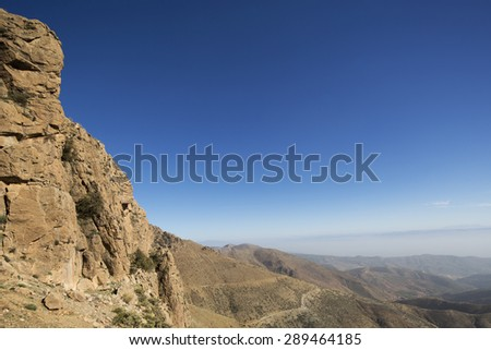 view of the atlas mountains at sunset, morocco - stock photo