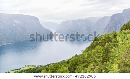 View of the Aurlandsfjord landscape from Stegastein viewpoint, Norway