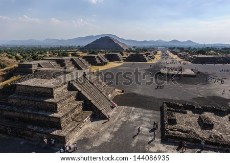 View of the Avenue of the Dead, Pre-Hispanic City of Teotihuacan, UNESCO World Heritage Site - stock photo