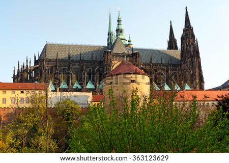 gothic stone beams gothicstyle cathedral st vitus historic landmark stock photo
