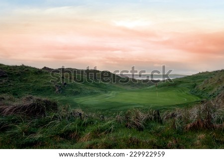 view of the Ballybunion links golf course in county Kerry Ireland - stock photo