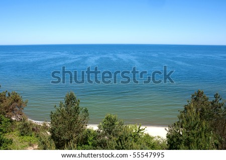 View of the Baltic sea from a cliff - stock photo