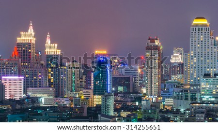 View of the Bangkok Skyscraper in Bangkok, Thailand.Bangkok is the most populated city in Southeast Asia with one sixth of population live and visit Bangkok every day - stock photo
