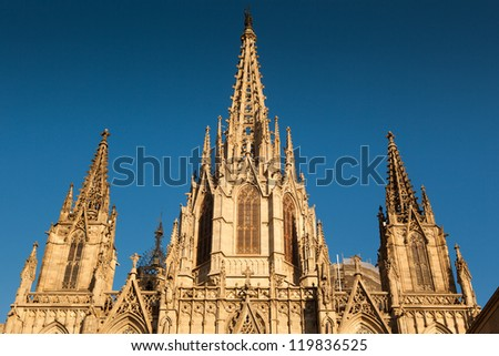 """View of the Barcelona gothic Catedral called """"Santa Eulalia"""" or """"Santa Creu"""". Builded between XIII and XV century. - stock photo"""